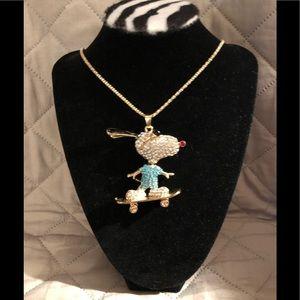 Skateboarding Snoopy Pendant Necklace